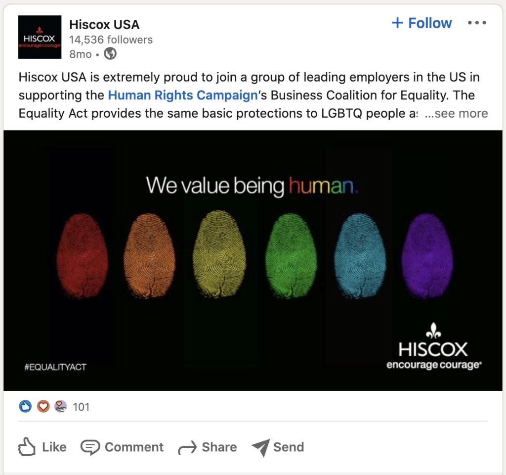 Hiscox LinkedIn Post