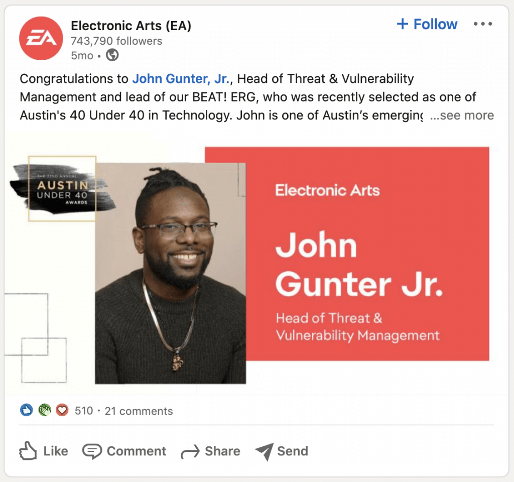 EA Game Linkedin Post